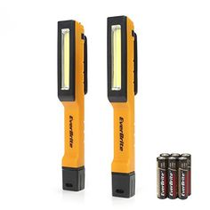 Everbrite 2-pack 130 Lumens Pocket LED Flashlight COB Work Light with Magnetic Base 3 AAA Alkaline Batteries Included (Orange/Black) - Everbrite 2-pack 6 SMD LED Micro Inspection Light