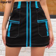 Rapwriter Panelled Black Pencil Skirt Women 2020 Middle Zipper harajuku Pocket Summer Skirt Mini High Waist Skirt Wrap Saias Waist Skirt, High Waisted Skirt, Cheap Skirts, Black Pencil, Summer Skirts, Harajuku, Middle, Zipper, Pocket