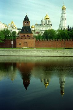 A reflection in the Moscow river of the lovely churches inside the Kremlin.