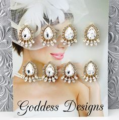 """Bridal Earrings Wedding Earrings Bridesmaids earrings by goddessdesignsgems, $80.00 This listing is for a """"set of four"""" pairs of earrings. Breathtakingly beautiful"""" these earrings are simply exquisite. Antiqued style earrings featuring a large pear shaped Austrian crystal surrounded by a bevy of smaller crystals. Earrings are """"gold"""" plated post style and measure approx 1 1/4"""" in width and length."""