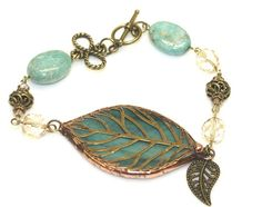 stained glass leaf bracelet