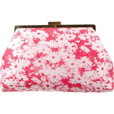 Pre-owned Stella McCartney Daisy Jacquard Clutch ($550) ❤ liked on Polyvore featuring bags, handbags, clutches, red, red hand bags, red handbags, stella mccartney handbags, pink handbags and stella mccartney