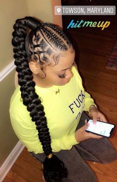 braided ponytail styles for black hair Try in 2020 Hair styling adds an additional beauty to a woman. Black or white, the hair style matters a lot in your Box Braids Hairstyles, Braided Ponytail Hairstyles, Braided Hairstyles For Black Women, Ponytail Styles, Braids For Black Hair, Protective Hairstyles, Protective Styles, Short Hairstyles, African Hairstyles