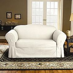 It Took Ages To Find An Affordable White Slipcover That Our Dark Sofa Wouldn T Show Through We Also Got The Matching Loveseat Cover