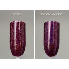 Diablo vs Black orchid !  Bilan du match, texture différente évidemment, et comme vous pouvez le voir Diablo est rouge Bordeaux (insta a un peu mangé sa couleur, il est un poil plus vif !), alors que Black orchid a une pointe de violet en plus et qu'il est sensiblement plus sombre.  #ILNPFall #ILNPDiablo #ilnpfeature #ILNPBlackOrchid