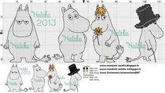 Bilderesultat for moomin knitting pattern Cross Stitch Baby, Cross Stitch Animals, Cross Stitch Charts, Cross Stitch Designs, Cross Stitch Patterns, Diy Embroidery, Cross Stitch Embroidery, Knitting Charts, Knitting Patterns
