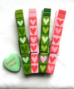 PINK and GREEN HEARTS hand painted clothespin by SugarAndPaint, $10.00