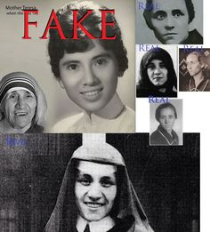"A fake photo of ""young Mother Teresa"" has been floating around.  Share to combat this particular piece of misinformation  Fake photo shown, real ones shown around edge."