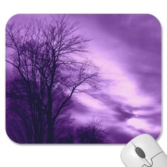 Winter Tree and Sky in Purple Mousepad  Pretty in Purple.. this photo of a tree in winter and a cool spooky sky in purple... looks cool on this mousepad. personalize it with your name or initals