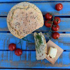 Bryndzový chlieb bez kysnutia Camembert Cheese, Dairy, Yummy Food, Bread, Homemade, Meals, Recipes, Fisher, Recipies