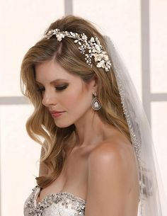 Enchanting Pearl and Flower Vine Hair Clip headpiece by Symphony Bridal CL5000 - Affordable Elegance Bridal -