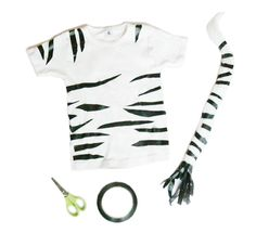 Safari: Super easy DIY zebra/tiger costume! All it takes is a little bit of ducttape, a pair of scissors, and a colored t-shirt.