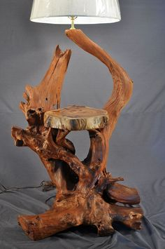 We have upcycled many useless materials into lamps earlier in our website. But driftwood lamp among all other crafts is probably the most astonishing and great idea. We have employed driftwood in so many ideas that I strongly believe that whenever yo Driftwood Flooring, Driftwood Furniture, Driftwood Lamp, Driftwood Projects, Driftwood Sculpture, Log Furniture, Driftwood Ideas, Rustic Lamps, Wood Lamps