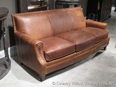 brown leather tight back sofa with nail heads- Country Willow Furniture