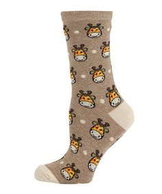 Cream (Cream) Cream Giraffe Socks  | 273282613 | New Look  £1.99