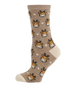 Cream (Cream) Cream Giraffe Socks  | 273282613 | New Look  £1.99