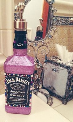 Jack Daniels Soap Dispenser with Bling & Pink ... Love it! #diy