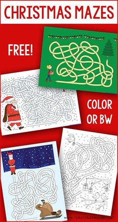 This set of free Christmas labyrinths is a great way to add learning activities to your kids in December, during the Christmas holidays. These printable labyrinths are available in color. Christmas Maze, Christmas Labels, Free Christmas Printables, Christmas Themes, Holiday Crafts, Holiday Fun, Christmas Holidays, Printable Mazes, Free Printable