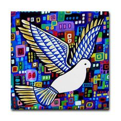 FREE SHIPPING- Bird Art Tile Ceramic Coaster Print of Painting by Heather Galler (HG900)