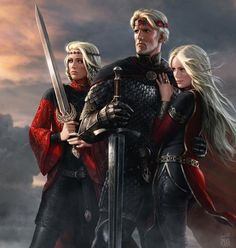 "Aegon And His Sisters by Amok. Aegon I, Visenya, and Rhaenys Targaryen. ""Aegon the Conqueror brought fire and blood to Westeros, but afterward he gave them peace, prosperity, and justice."""
