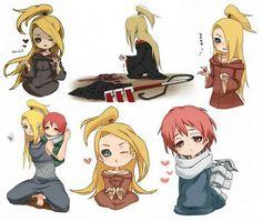 Deidara, Sasori, cute, chibi, Akatsuki, text; Naruto