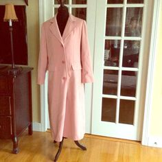 Long Pink Spring Coat sz 8 just lowered! In good condition. Lined light weight coat perfect for Spring and Easter. It polyester outside with lining. Very nice look double buttons on back . Gallery Jackets & Coats