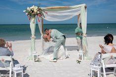 #beachwedding #beachbride #brideandgroom #floridawedding #weddingphotography #destinationwedding Beach Weddings, Simple Weddings, Beach Ceremony, Ceremony Decorations, Destination Wedding, Florida, Wedding Photography, Outdoor Decor, Green