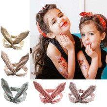 Girls Rabbit Ears 5 piece Headbands, Rockabilly Style
