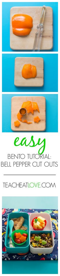 EASY and FAST tutorial for cutting bell pepper into fun shapes for school lunches.