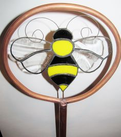 Stained Glass Copper Garden Stake Bee by PowerGlassCreations