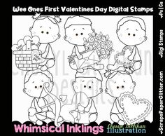 Wee Ones First Valentines Day Digital Stamps, Black and White Image, Graphic, Commercial Use, Instant Download, Line Art, Baby, Toddler by ResellerClipArt on Etsy Image Graphic, White Image, Digital Stamps, Line Art, Valentines Day, Commercial, Snoopy, Black And White, Comics