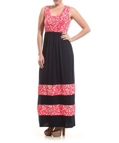 Look what I found on #zulily! Navy & Coral Damask Stripe Maxi Dress by Coveted Clothing #zulilyfinds ----- Maybe for me?