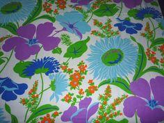 "Vtg MOD Cotton Heavy Ribbed Huge Floral Fabric Aqua Purple Orange  46"" w x 100"""
