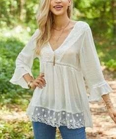 This White Lace-Trim V-Neck Tunic - Women & Plus is perfect! #zulilyfinds