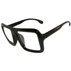 Huge Squared Geek Nerd Man Woman Unisex Glasses! in Black with Shiny finish