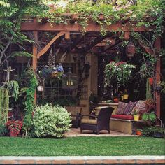 vine covered back patio ramada