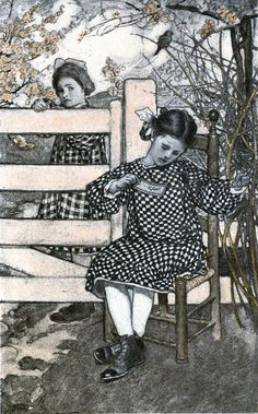 """"""" 'fore I'd lean my chin on folks's gates and watch 'em!""""  From """"The very small person"""" illustrated by Elizabeth Shippen Green (1906)"""