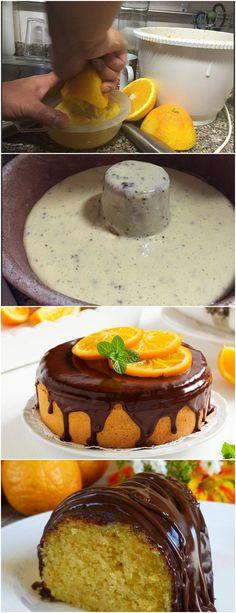 BOLO DE LARANJA COM COBERTURA DE CHOCOLATE,A GAROTADA ADORA VEJA AQUI>>>Bata os ovos com o açúcar e a margarina, junte a farinha, o fermento e o suco e raspas de laranja. Asse em assadeira untada e enfarinhada, a 230°C, por 40 minutos. Faça o teste do palito antes de retirar do forno #receita#bolo#torta#doce#sobremesa#aniversario#pudim#mousse#pave#Cheesecake#chocolate#confeitaria