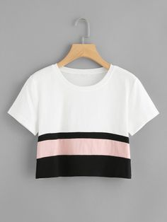 Shop Cut And Sew Crop Tee online. SheIn offers Cut And Sew Crop Tee & more to fit your fashionable needs. Cute Comfy Outfits, Cute Girl Outfits, Pretty Outfits, Cool Outfits, Girls Fashion Clothes, Teen Fashion Outfits, Cute Crop Tops, Cami Tops, Crop Tops For Girls