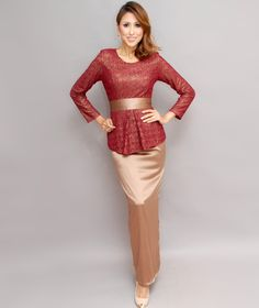Lace Peplum Kebaya Set - Studiofrost.net Kebaya Bali Modern, Lace Peplum, Simple Dresses, Hijab Fashion, Bridesmaid, Wedding Dresses, Curves, How To Wear, Outfit Ideas