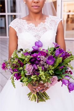 Purple Bouquet The Little Branch Carondelet House Wedding from Jaime Davis Photography | Southern California Bride  Day of Gal Wedding