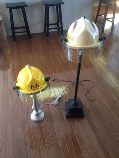 Lamps made from old fire fighter helmets/ cute for a boys firefighter bed room