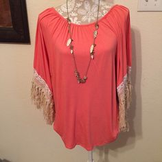 Cute fringe shirt Adorable fringed shirt looks great with jeans!! VaVa Tops Blouses