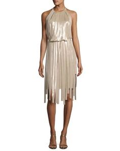 TVJBL Halston Heritage Pieced Metallic Halter Dress, Champagne