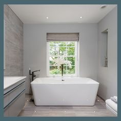 Can you imagine lying in this bath and gazing out the window? Our Timber or timber alternative sash windows look amazing in this house. Victorian Townhouse, Timber Windows, Contemporary Style, Modern, Bathroom Goals, Sash Windows, House Goals, Bathroom Designs, Architects