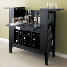 Parker Ebony Spirits Cabinet in Bar Cabinets & Bar Carts | Crate and Barrel