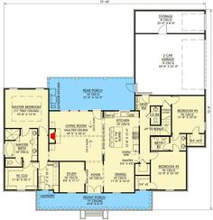 Lovely Farmhouse Plan with Vaulted Living Room - 56439SM floor plan - Main Level