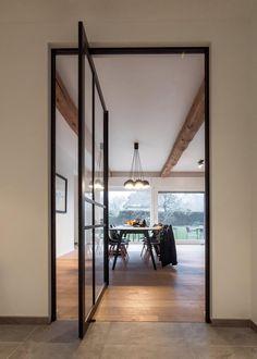 Home Interior Design, Interior Styling, Cosy Dining Room, Door Design, House Design, Farmhouse Renovation, Pivot Doors, Aluminium Doors, Indoor Doors