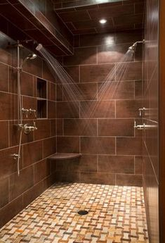 Double Shower Design Ideas, Pictures, Remodel and Decor Dream Shower, Walk In Shower, Rain Shower, Shower Floor, Slate Shower, Tile Floor, Glass Floor, Glass Tiles, Shower Time