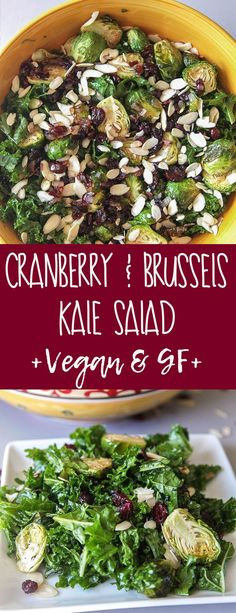 Cranberry & Brussels Kale Salad (Vegan + GF) - A warm cozy salad loaded with nutrients from kale and brussels sprouts with a warm cranberry vinaigrette #vegan #thanksgiving #thanksgivingside #plantbased #dairyfree #glutenfree #kale #brusselssprouts #salad